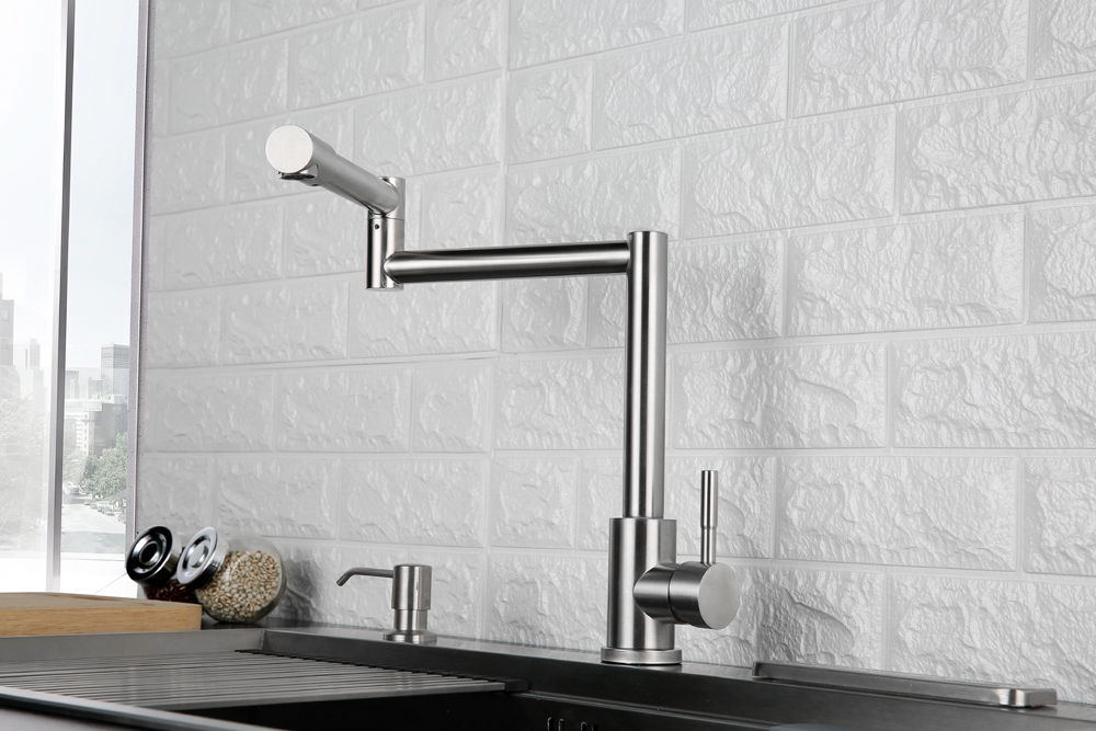 Folding Kitchen Faucet Stretchable Swing Arm Brushed  Single Hole Single Handle Deck Mounted Cold & Hot Kitchen Sink Faucet  (4)