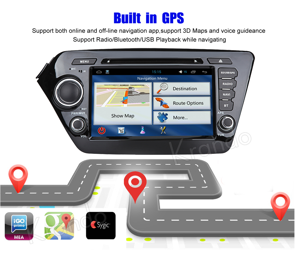 Krando kia k2 rio Android car radio gps navigation multimedia system (5)