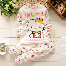 Baby girls cloting set 2pcs high quality cotton Cartoon Hello KITTY baby clothes girls clothes set Kids bebes clothing set(China)