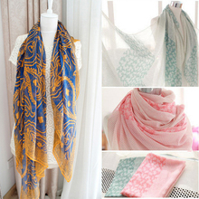 2016 Women Spring Fashion Scarves Women Thin Long Georgette Silk Floss Shawl Stripe Print Shawls Scarf Wrap Hijab Foulard Amice(China)