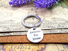 "28mm stainless steel keyring with  20mm stainless steel circle ""awesome bus driver""  charms   keyring"