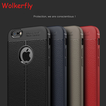 New Luxury Ultra-Thin Soft TPU Cases For iPhone 7 Case 7 Plus Leather Design Cases For iPhone 6 Case 6 7 Plus 5 5S Cover(China)