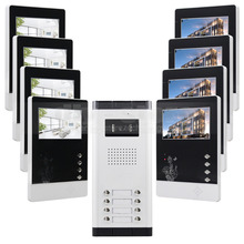 "DIYSECUR DIY 4.3"" 4-Wired Apartment Video Door Phone Audio Visual Intercom Entry System IR Camera For 8 Families"