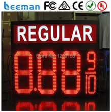leeman 10inch 24'' Hot selling watperoof IP65 12 inch 8.888,8.889.8.889/10 LED gas price sign remote Tube Chip Color led sign
