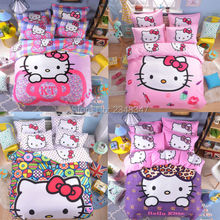 Cute Large Cartoon Hello Kitty 4Pc Pure Cotton Twin/Full/Queen Size Bed Quilt/Duvet/Doona Cover Set & Sheet Pink Purple Colorful