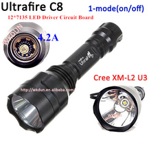 New C8 CREE XM-L2 U3 1-Mode(on/off) 12*7135 Driver Circuit Board 4200mA High Current 2000 Lumens LED Flashlight Torch(China)