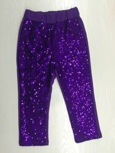 Girls Sequin Pants yellow Gold Sequin leggings purple Sparkle Pants Glitter leggings girl's sequin bottoms(China)