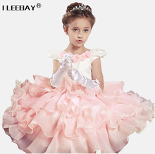Girl Dress Princess for Kids Party Wear Baby Pageant Dresses Toddler Evening Gowns Pink Junior Ball Gown Children Dress Costume