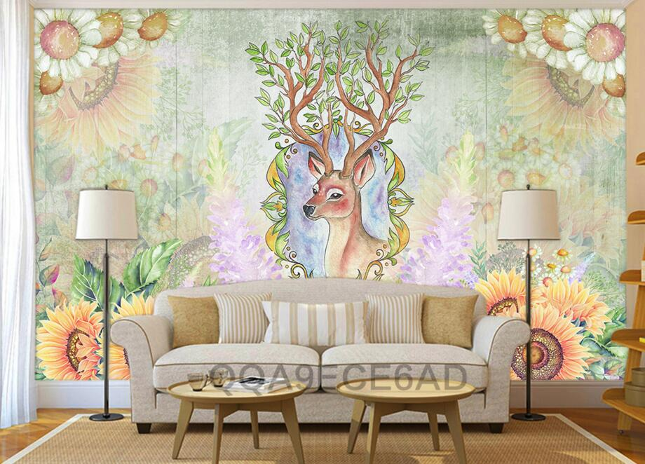 Custom 3D murals,retro pastoral abstract personality elk wallpaper.coffee shop living room sofa TV  wall kids room 3d wallpaper.<br>