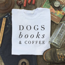 Hillbilly New Listing Women's Clothing Dogs Books&Coffee Letter Printed Short Sleeves 2017 New Fashion Women T-shirt Street Tops(China)