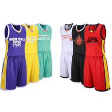 Adsmoney Men's Solid Color Basketball Jersey Shorts Competition Uniforms Suits Breathable Clothes Sets Custom Basketball Jerseys(China)