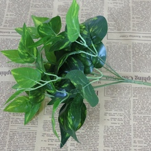 New Evergreen Leaf Home Decor Plastic Artificial Grass Leaves 7 Branches Artificial Scindapsus Aureus