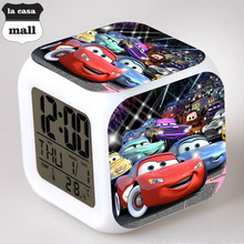 s Cars action figures colorful LED bells cars 2 Changed Digital 7 Colors toy free shipping reloj despertador Kids Alarm Clocks