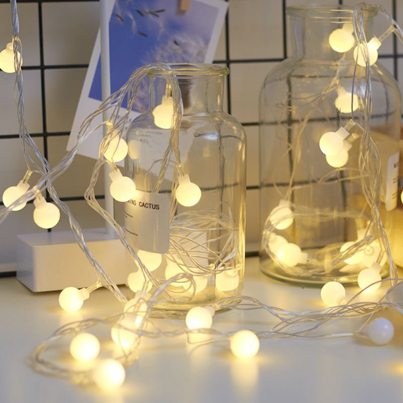 Fairy Garland LED Ball String Lights 1.5M 3M 6M Waterproof Battery Powered For Christmas Tree Wedding Home Indoor Decoration
