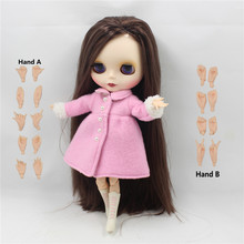 Nude Doll BL0222 Deep brown hair JOINT body Frosted skin matte face side parting Factory Blyth BJD Toy gift 30cm 1/6 doll neo