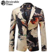 Desirable Time Men Slim Fit Velvet Printed Blazer Stage Clothing M-3XL Fashion Single Breasted Mens Casual Stylish Blazers DT260(China)