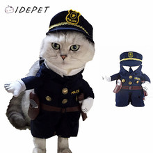 Fashion Pet Cat Clothing Police Uniform Puppy Coat Policeman With Business Attire Hat Costume For Cat Clothes 20(China)