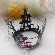 50pcs halloween cupcake wrapper, laser cut muffin cup cake cups wrappers pearl paper wedding party decoration supplies(China)