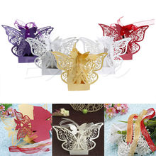 50Pcs Wedding Party Sweet Favor Butterfly Paper Candy Gift Boxes With Ribbon