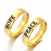 New Fashion Friendship Gift 316L Stainless Steel Letter ring Hope Encouraged Finger Ring Free Drop Shipping