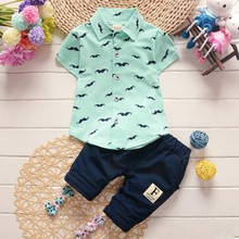 Korean Style 1-5 Years Old Infants Children's Clothing Kids Summer Two Piece/Suit Fashion Cotton Shirt + Trousers Sets For Boys(China)