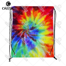 Fashion Colorful Tie Zagreb Dye Almofada Print Custom individual Nylon Fabric Drawstring Shoes Storage Dust Bag Pack of 4