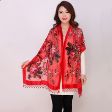 High Quality Flowers Chinese Female Velvet Silk Beaded Shawls Handmade Embroidery Scarves Scarf Long Fringe Pashmina StoleChal