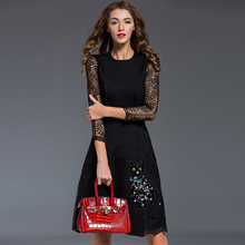 Vintage Brief Dress High Quality 2017 Lace Hollow Sleeve Patchwork Sequined Fashion Knee Length Women Topshop Summer New Dress