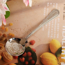 1 Pcs.Kawaii Kitty Cat Stainless Steel Spoon Children's Soup Coffee Spoons Scoop Dinnerware.Cartoon Flatware.Kid's Gift(China)