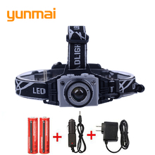 Human Body Sensor Switch XML-T6 Led Headlamp Mechanical Zoom 3000 Lumen Headlight Head Lights Lamp Batteries + Wall/Car Charger(China)