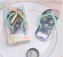 Flip flop wine bottle opener with starfish design 50PCS/LOT wedding favor guest gift blue DHL free shipping(China)