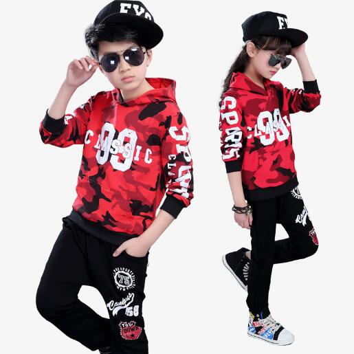 Childrens Clothing Set Boys Girls Sport Suit Hip Hop Clothes Kids Casual Tracksuit Hoodie + Pants Two Piece Suits<br>