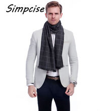 [Simpcise] 2017 new brand Men's scarf checked winter scarves warm long velvet wraps Soft Touch Male Accesory 4 colors A3A18908(China)