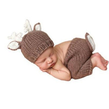 Newborn Baby Prop Photography Infant Crochet Clothes Chirstmas Deer Design Costume Photo Props Hats&Diaper Beanie&Pant Outfits Y