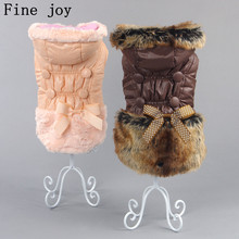 Fine joy Pets Clothes Dog Down Coat For Small Large Pet Dogs Winter Coat Jackets Pink Coffee Cute Pet Apparel Clothes(China)