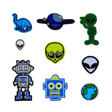 Hot Selling Kids Alien Planet Robot Dinosaur Patches Iron On Or Sew Fabric Sticker For Clothes Badge Embroidered Appliques DIY(China)