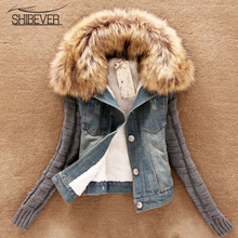 SHIBEVER Short Winter Jeans Jacket Women Ladies Casual Denim Coats Slim Long Sleeve Autumn Female Outwea Jacket for Girl AJT543(China)