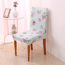 Pink Flowers Chair Covers Polyester Cotton Elastic Dining Chair Covers Restaurant For Weddings Banquet Hotel Decoration V20