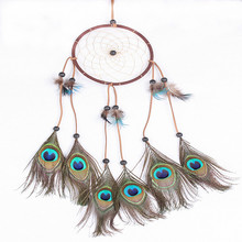 L1518 Handmade Dream Catcher Monocyclic Net Native Peacock Feather Wall Hanging Decoration Dreamcatcher Ornament Christmas Gift