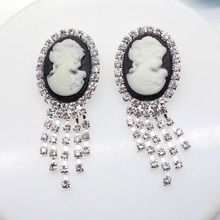 2017 Sale Free Shipping Oval Resin Beauty Head Flatback Rhinestone Pin Diy Accessories Avatar Shiny Buckle Clothing Brooches