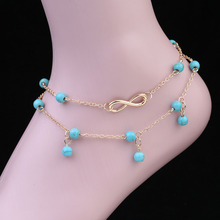 Beach Accessories Anklets For Women Girl Beads Leg Ankle Bracelet Infinity Barefoot Sandals Foot Jewelry Endless Vacation Summer