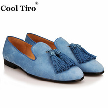COOL TIRO new Light blue tassel men smoking Slippers suede Fashion Genuine Leather Causal Shoes Handmade Party Flat Loafers(China)