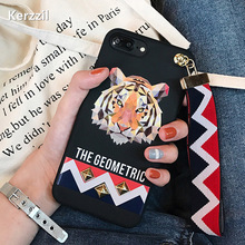 Fashion Hot Animal Tiger & Rabbit Stud Rivet Wrist Strap Phone Case for iPhone 7 7Plus Soft TPU Cover Case for iPhone7 6 6S Capa