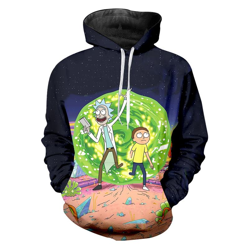 benxsea Men Anime Hoodies Funny 3d Print Rick and Morty Hoodie Sweatshirt Casual Long Sleeve O-neck Pullovers Mens Sweats Homme