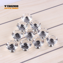 1pack/ 10Pcs 30mm Diamond Shape Crystal Glass Knob Cupboard Drawer Pull Handle Cabinet Wardrobe Knobs Hardware Accessories
