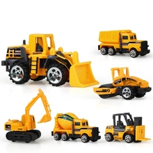 6pcs Diecast Mini City Construction Vehicle Engineering Truck Bulldozer Excavator Tanker Forklift Dump Truck Toys Best Gift