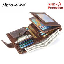 Buy NBSAMENG Genuine Leather Vintage Wallets Large Capacity Men's Purse RFID Blocking Credit Card Holder Wallets Hasp for $16.19 in AliExpress store