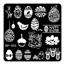 Happy EASTER Nail Art Stamping Image Template Manicure Tools Stencil Lovely Hen Egg Rabbit Candle Design Nail Decration SP-003