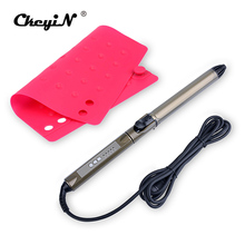 28mm Hair Curler LED 5S Fast Hair Curling Wand Iron with 360 Degree Rotatable Clip Hair Styler Styling Tools + Anti-hot pad S50(China)