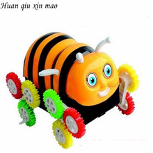 Huan qiu xin mao Box Toys Kids Electric Car Cartoon Encounter Obstacles Flip 12 wheels Bee  Dumpers  Toy Cars for boys